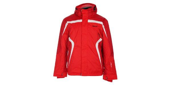 Pánska červená lyžiarska bunda Envy s bielymi detailami
