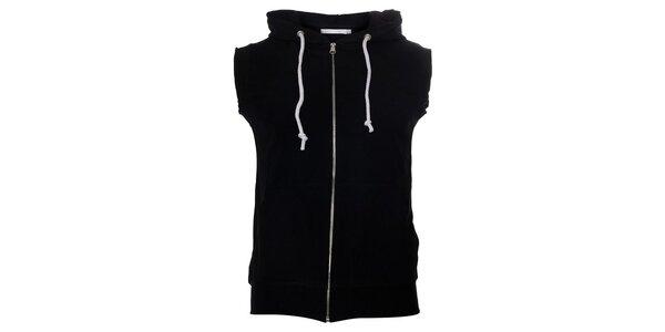 Pánska čierna vesta Free Wave s kapucňou