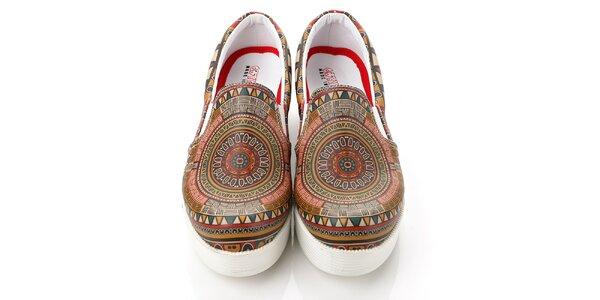 Dámske vzorované loafers na platforme Elite Goby