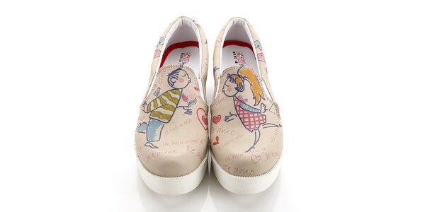 Dámske loafers so zamilovanou dvojicou na platforme Elite Goby