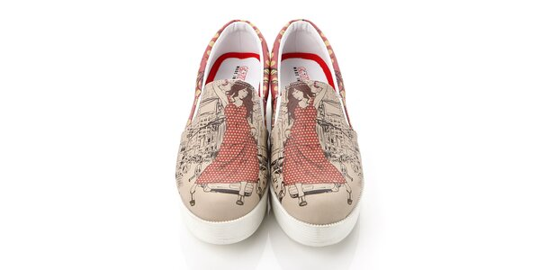 Dámske loafers s mestským motívom na platforme Elite Goby
