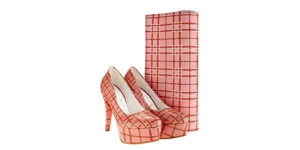 Dámske lodičky a listová kabelka Elite Goby - ružovo kockované