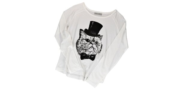Dámske krémovo biele tričko s kocúrom Sublevel