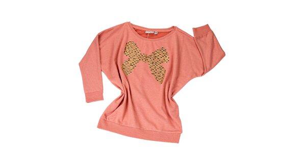 Dámsky ružový sveter s flitrovou mašľou Fresh Made