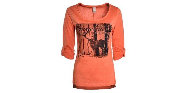 Dámske oranžové tričko s jeleňom Urban Surface