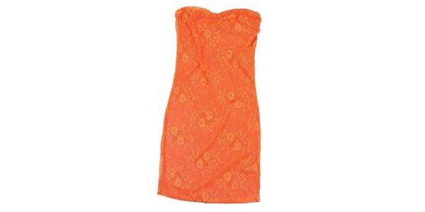 Dámske oranžové čipkované šaty Sublevel