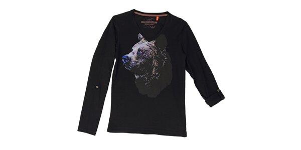Pánske čierne tričko s medveďom Urban Surface