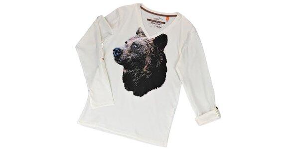Pánske biele tričko s medveďom Urban Surface