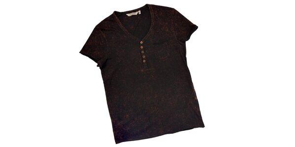 Pánske čierne tričko s gombíkmi 98-86