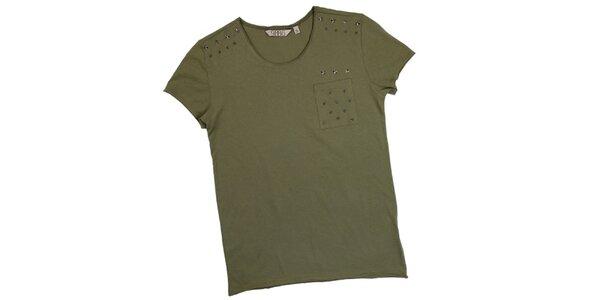 Pánske olivovo zelené tričko s krátkym rukávom a hviezdami 98-86