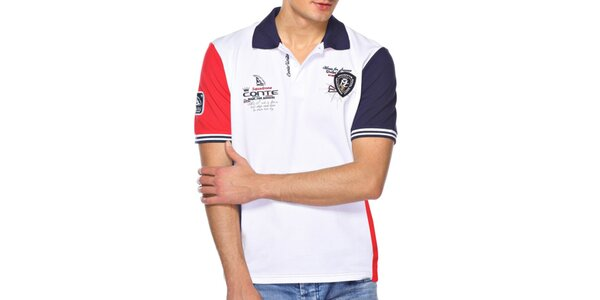 Pánske červenomodrobiele polo tričko M. Conte