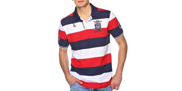 Pánske pruhované polo tričko s nášivkou M. Conte