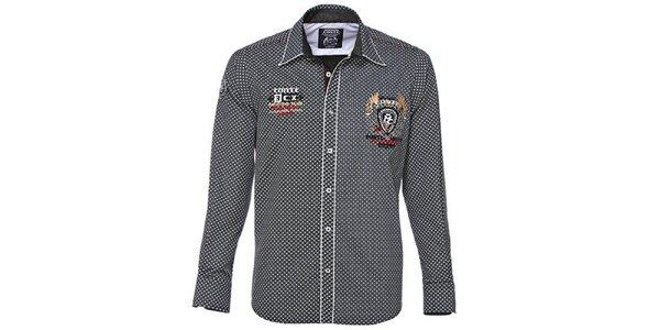 Pánska čiernobiela košeľa s drobnou potlačou M. Conte