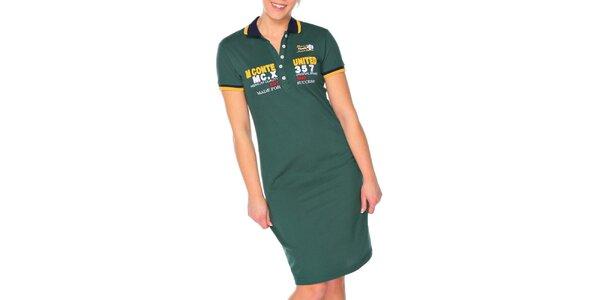 Dámske olivové šaty s golierikom M. Conte