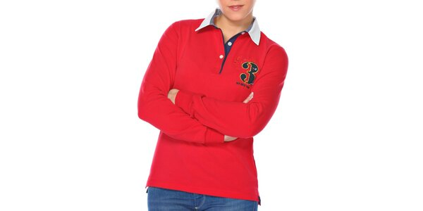 Dámske červené polo tričko s číslicou M. Conte