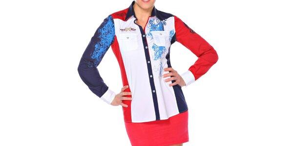 Dámska modro-bielo-červená košeľa M. Conte
