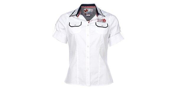 Dámska biela športová košeľa s nášivkou M. Conte