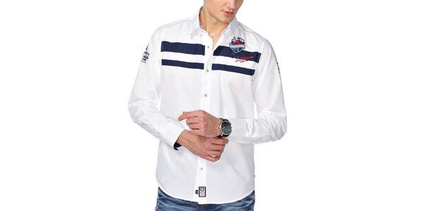 Pánska biela košeľa s pruhmi M. Conte