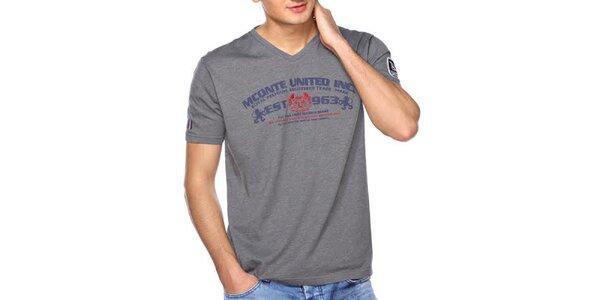 Pánske šedé tričko s farebným nápisom M. Conte