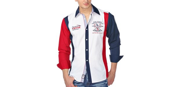 Pánska farebná košeľa s výšivkami M. Conte