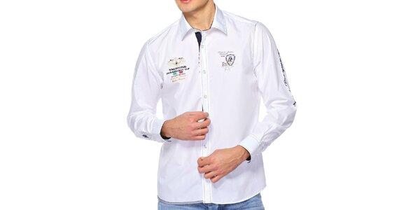 Pánska biela košeľa s výšivkami M. Conte