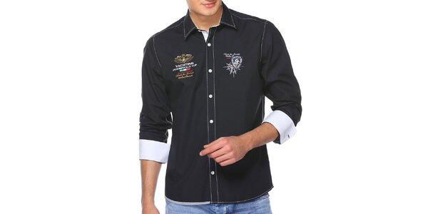 Pánska tmavomodrá košeľa s výšivkami M. Conte