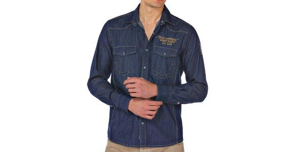 Pánska modrá džínsová košeľa M. Conte