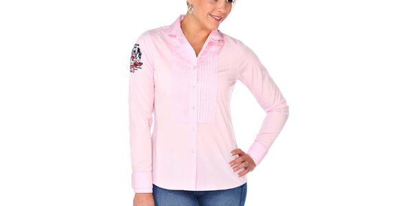 Dámska svetlo ružová košeľa s dlhým rukávom M. Conte