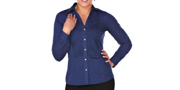 Dámska tmavo modrá košeľa s plisovaním M. Conte