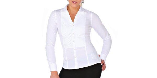 Dámska biela košeľa s plisovaním M. Conte
