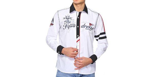 Pánska snehobiela košeľa s výšivkami M. Conte