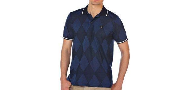 Pánske modré kárované polo tričko M. Conte