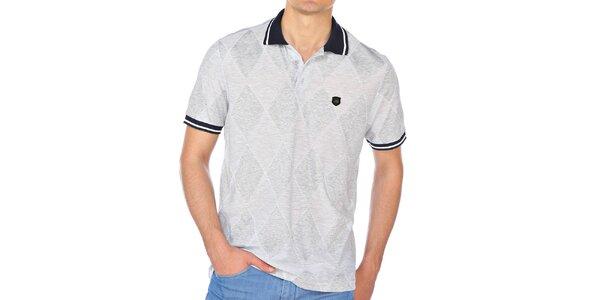 Pánske šedé kárované polo tričko M. Conte