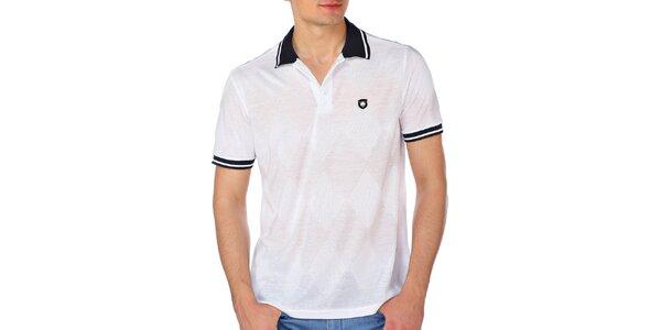 Pánske biele kárované polo tričko M. Conte