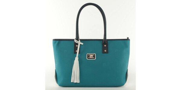 Dámska modrá kabelka s bielym strapcom Pierre Cardin
