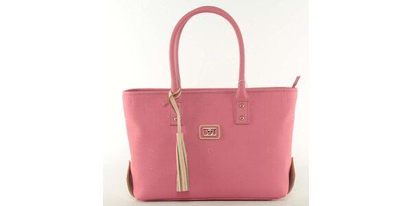 Dámska ružová kabelka so smotanovým strapcom Pierre Cardin