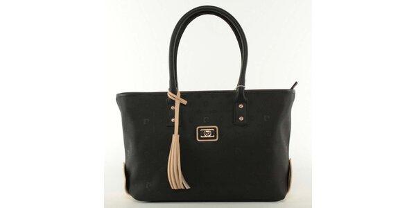 Dámska čierna kabelka s béžovým strapcom Pierre Cardin
