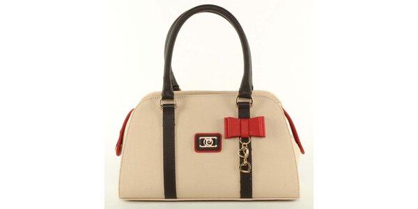 Dámska svetle béžová kabelka s mašličkou Pierre Cardin