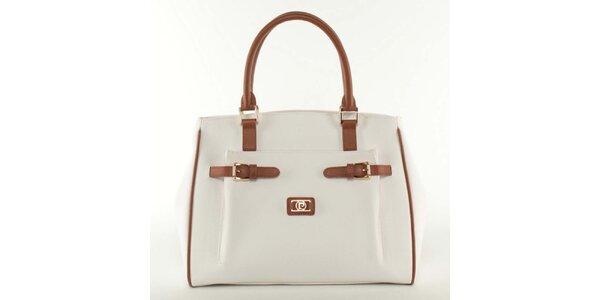 Dámska biela kabelka s hnedými prvkami Pierre Cardin