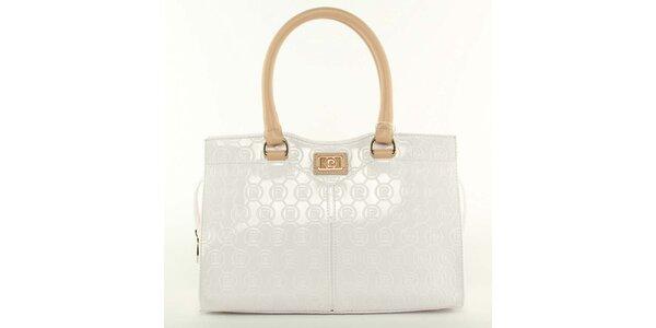 Dámska biela kabelka s béžovými pútkami Pierre Cardin
