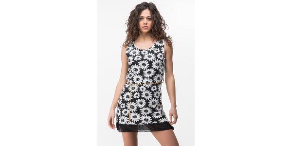 Dámske čierne šaty s bielymi kvetmi Sixie
