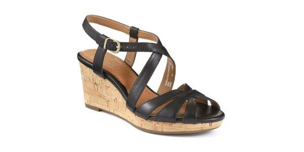Dámske kožené čierne remienkové sandálky na platforme Clarks