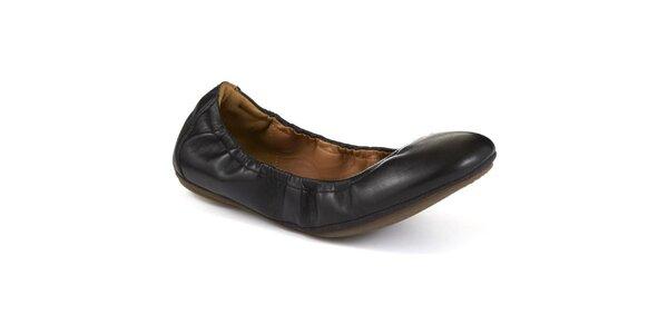 Dámske čierne kožené balerínky Clarks