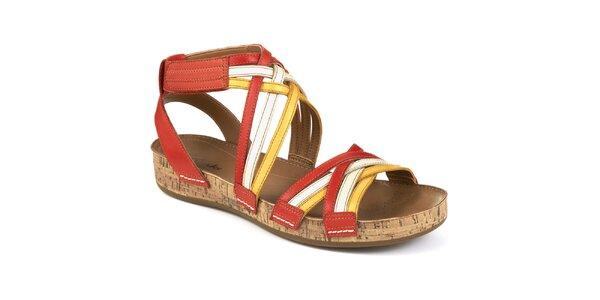 Dámske kožené sandále s farebnými remienkami Clarks