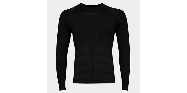 Pánske čierne bezšvové tričko Sweep s dlhým rukávom