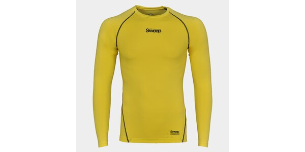Pánske žlté kompresné tričko Sweep s dlhým rukávom