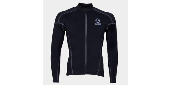 Čierny cyklistický dres s dlhým rukávom Sweep