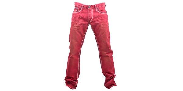 Pánske červené prešívané džínsy RNT23
