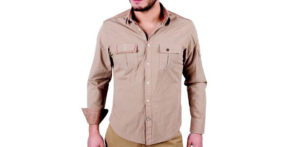 Pánska svetlo hnedá košeľa s dlhým rukávom RNT23