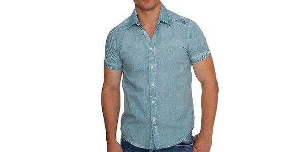Pánska svetlo modrá denimová košeľa s krátkymi rukávmi RNT23